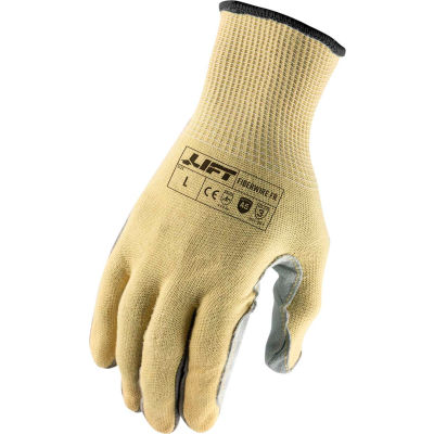 Lift Safety Leather Palm Gloves, Fiberwire, Fire Resistant, A5, XL, Knit Wrist, 13 Gauge