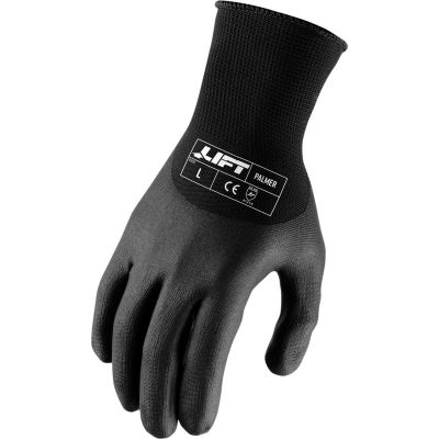 "Lift Safety 3/4"" Dip Gloves, Palmer Microfoam, Nitrile, XL, Knit Wrist, 13 Gauge"
