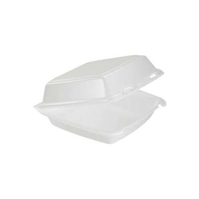 DART® DCC85HT1, Foam Hinged Food Container, 1 Compartment, White, 200/Carton