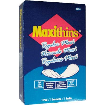 Hospeco Maxithins #4 Full Protection Sanitary Napkins Individually Boxed, 250/Case - HOSMT4