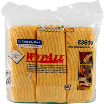 """Wypall Cloths With Microban Microfiber 15-3/4"""" x 15-3/4"""", Yellow 6 Wipes/Pack 4/Case - KIM83610CT"""
