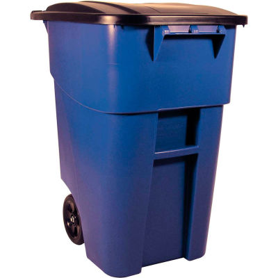 Rubbermaid 9W27 Brute® Rollout 50 Gallon Large Mobile Container- Blue with Lid