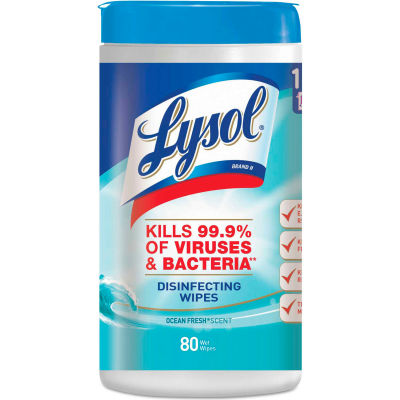 """LYSOL® Disinfecting Wipes, Ocean Fresh, 7"""" x 8"""", 80 Wipes/Can, 6 Cans/Case - 77925"""