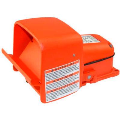 Linemaster 511-BOXG Hercules Anti-Trip Foot Switch W/Shield, Momentary, Orange, Cast Iron/Aluminum