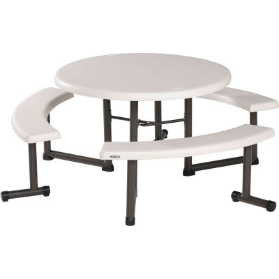 "Lifetime® 44"" Round Picnic Table with Swing-Out Benches"