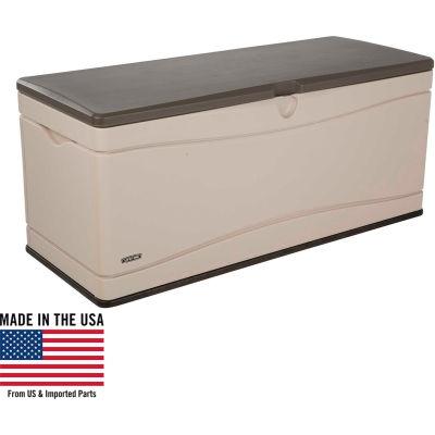 Lifetime 60012 Outdoor Deck Storage Bench Box 130 Gallon, Sand w/Brown Lid