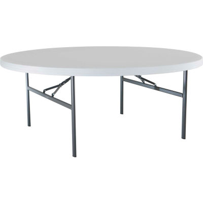 "Lifetime® 72"" Round Portable Folding Plastic Table, White"