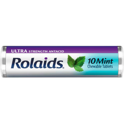 Rolaids® Ultra Strength Antacid Chewable Tablets, Mint, 10/Roll, 12 Roll/Box