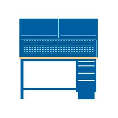 72x30x64.75 Cabinet & Leg workstation w/4 drawers, stat. riser shelf, 2 ovhd cabs/plastic lam. top