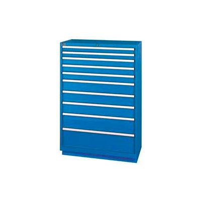 Lista® 10 Drawer Shallow Depth Cabinet - Bright Blue, No Lock