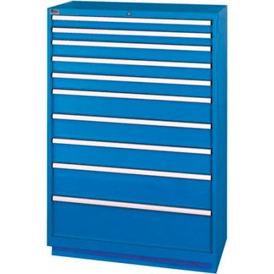 Lista® 10 Drawer Shallow Depth Cabinet - Bright Blue, Individual Lock