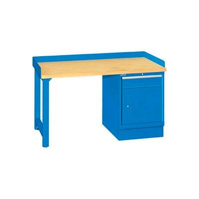 60x30x35.25 Cabinet & Leg workstation w/1 drawer, back & end stops/butcher block top