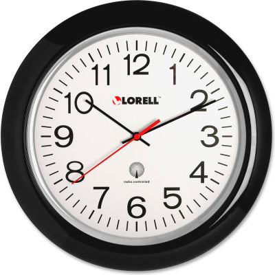 "Lorell® 13-1/4"" Round Radio Controlled Wall Clock, Plastic Case, Black"