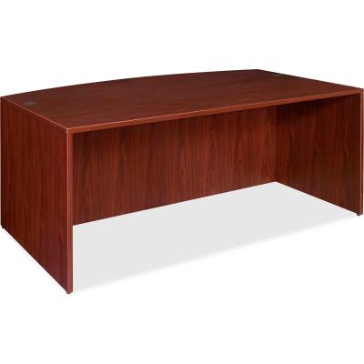 """Lorell® Bow Front Desk Shel - 72""""W x 36""""D x 29-1/2""""H - Mahogany - Essentials Series"""