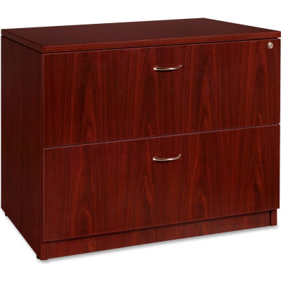 """Lorell® 2-Drawer Lateral File - 35""""W x 22""""D x 29-1/2""""H - Mahogany - Essentials Series"""