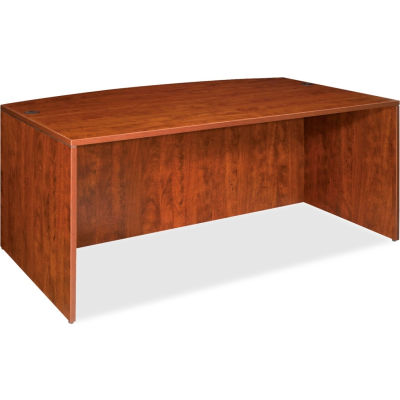 """Lorell® Bow Front Desk Shell - 72""""W x 36""""D x 29-1/2""""H - Cherry - Essentials Series"""