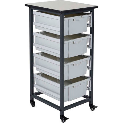 """Luxor Mobile Bin Cart with Four 6""""H Totes MBS-SR-4L - Gray/Black, 19-1/2""""L x 17""""W x 37-1/4""""H"""
