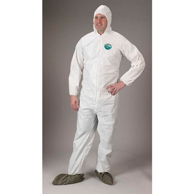 Lakeland CTL414 Micromax® NS Disposable Coverall 2X, White, Hood, Elastic Wrists/Boots, 25/Case