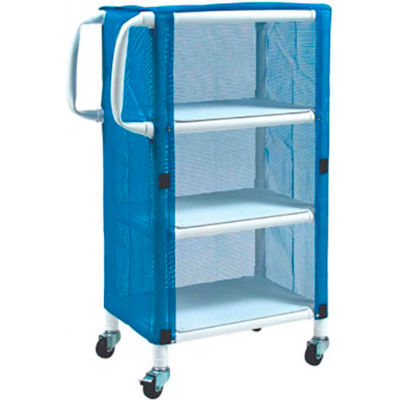 "Graham-Field 8523 PVC Linen Cart with Blue Mesh Cover, Small 3-Shelf, 33""W x 20""D x 51-1/4""H"
