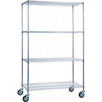 """R&B Wire Products LC243672 Mobile Linen Cart with 4 Wire Shelves, 36""""L x 24""""W x 78""""H"""