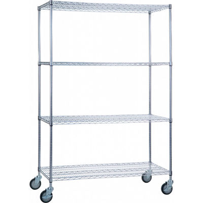 """R&B Wire Products LC244872 Mobile Linen Cart with 4 Wire Shelves, 48""""L x 24""""W x 78""""H"""