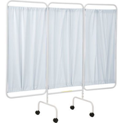 """R&B Wire Products PSS-3C Mobile 3-Panel Privacy Screen, 81""""L x 69""""H, White Vinyl Panels"""