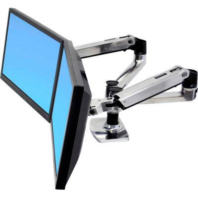 Ergotron® LX Dual Side-by-Side Arm, Polished Aluminum