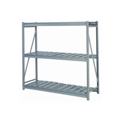"Bulk Storage Rack Starter, 3 Tier, Ribbed Decking, 60""W x 24""D x 60""H Gray"