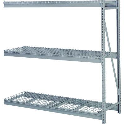 """Bulk Storage Rack Add-On, 3 Tier, Wire Decking 72""""W x 30""""D x 84""""H Gray"""