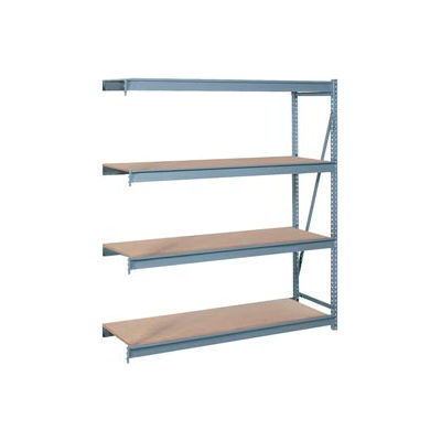 "Bulk Storage Rack Add-On, 4 Tier, Particle Board, 72""W x 24""D x 96""H Gray"