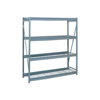 """Bulk Storage Rack Starter, 4 Tier, Wire Decking, 72""""W x 36""""D x 96""""H Gray"""