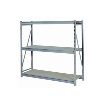"Bulk Storage Rack Starter, 3 Tier Particle Board, 96""W x 24""D x 72""H Gray"
