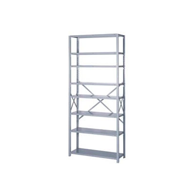 "Lyon Steel Shelving 20 Gauge 36""W x 18""D x 84""H Open Style 8 Shelves Gy Add-On"