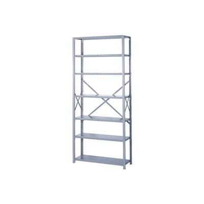 """Lyon Steel Shelving 22 Gauge 36""""W x 12""""D x 84""""H Open Style 7 Shelves Gy Add-On"""