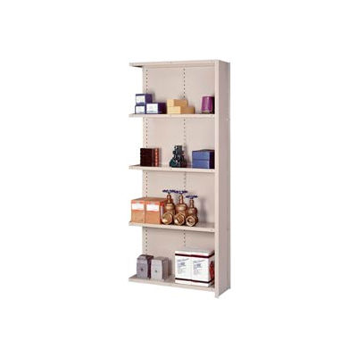"Lyon Steel Shelving 18 Gauge 36""W x 18""D x 84""H Closed Style 5 Shelves Gy Add-On"