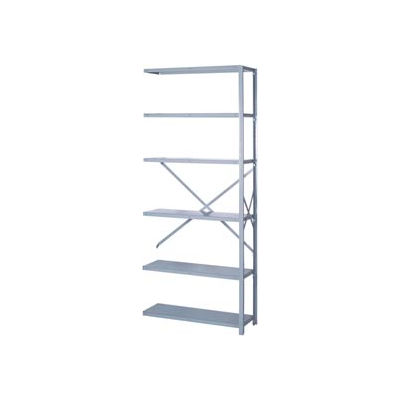 """Lyon Steel Shelving 22 Gauge 36""""W x 18""""D x 84""""H Open Style 6 Shelves Gy Add-On"""