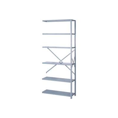 """Lyon Steel Shelving 20 Gauge 42""""W x 18""""D x 84""""H Open Style 6 Shelves Gy Add-On"""