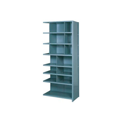 """Lyon Shelving Add-On DD8062H - 16 Compartment 8 Heavy-Duty Shelves, 36""""Wx24""""Dx84""""H Gray"""