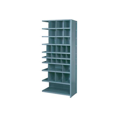 """Lyon Shelving Add-On DD8120H - 38 Compartment 10 Heavy-Duty Shelves, 36""""Wx12""""Dx84""""H Gray"""