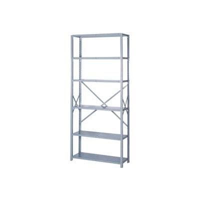 """Lyon Steel Shelving 20 Gauge 48""""W x 12""""D x 84""""H Open Style 6 Shelves Gy Starter"""