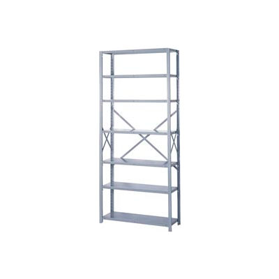 """Lyon Steel Shelving 20 Gauge 48""""W x 24""""D x 84""""H Open Style 7 Shelves Gy Starter"""