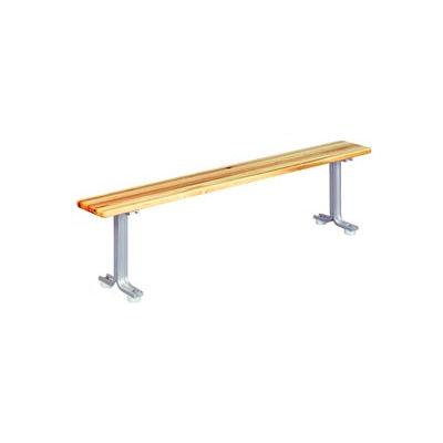 """Lyon Locker Bench Hardwood Top w/Aluminum Pedestals NF5783 - 36""""W x 9-1/2""""D x 18""""H"""
