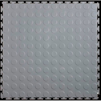 "Lock-Tile® PVC Floor Tiles, LK002L, 19.5x19.5"", Coin, Light Gray"
