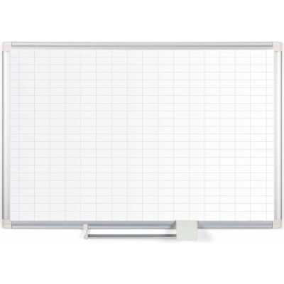 """MasterVision Magnetic Steel Dry-Erase Planning Board, 1"""" X 2"""" Grid, Aluminum Frame, 24"""" X 36"""""""
