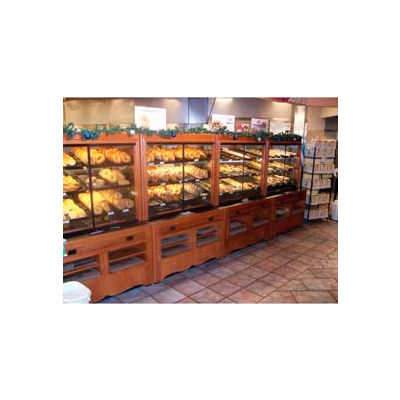 "Enclosed Bakery Self-Serve Unit, 48""L x 37""W x 70-1/4""H, Hardwood, African Limba"