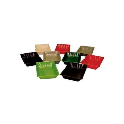 "Smooth Baskets W/O Holes, 10""L x 12""W x 2""H, Plastic, Black"