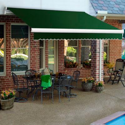 """Awntech MM8-72-F Retractable Awning Manual 8'W x 10""""H x 7'D Forest Green"""