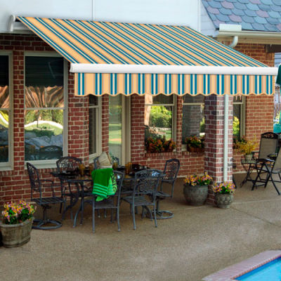 "Awntech MTR16-335-TTEAL, Retractable Awning Right Motor 16'W x 10'D x 10""H Tan/Teal"