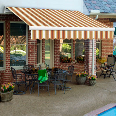 "Awntech MM24-254-WTTER, Retractable Awning Manual 24'W x 10'D x 10""H Tan/Terra/White"