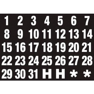 Magnetic Headings Calendar Dates (1-31), White on Black